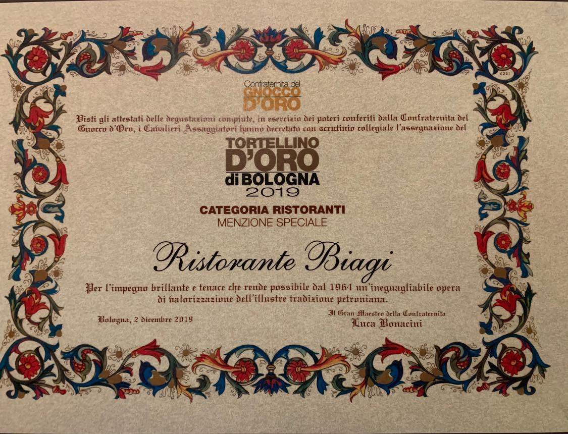 Onoreficenza Tortellino d'Oro di Bologna 2019